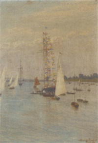 the committee boat dressed overall at the regatta by w. savage cooper