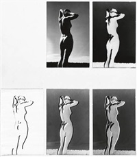 series of 5 variants of a nude study (5 works mntd together) by andreas feininger
