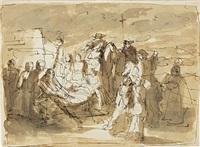trasporto di salma con cavaliere e altri personaggi by vincenzo camuccini