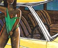 fille en maillot de bain près d'une voiture by jan worst