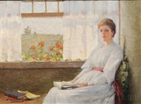 lady in white seated by a window by carle john blenner