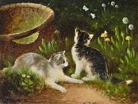zwei kätzchen im gras by otto scheuerer
