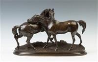 l'accolade bronze sculpture by pierre jules mêne