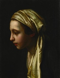 a peasant girl in profile wearing a white scarf by pietro antonio rotari