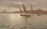 barca on the bacino di san marco, venice, with the molo, the ducal palace and the campanile of san marco in the background by romolo tessari