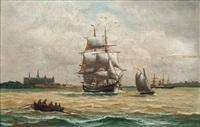 ships off kronborg castle by alfred jensen