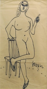 standing nude leaning on chair; black by francis newton souza