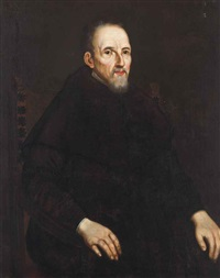 portrait of fra carlo sarpi, three-quarter-length, seated in an interior by titian (tiziano vecelli)