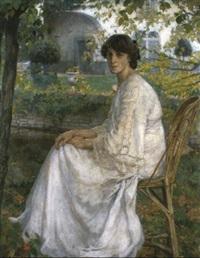 zittende vrouw in een tuin by franz van holder
