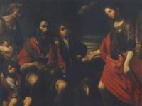 erminia tra i pastori by jean valentin (de boulogne)