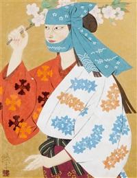 junge frau mit hellblauem kopftuch und buntem kimono, in der hand einen blühenden kirschzweig haltend by kohei morita