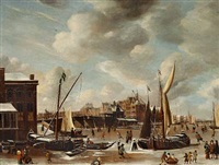 a view of the nieuwe brug and the paalhuis in amsterdam with townsfolk skating on the frozen canal by abraham beerstraten