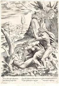 adam und eva betrauern den toten abel (after p. del vaga) by perino del vaga