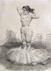 ballett-tänzerin beim auskleiden, den tutu zu ihren füßen by charles paul renouard