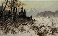 hirsche in winterlandschaft by otto scheuerer