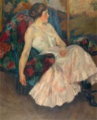 dame auf einem fauteuil by edward cucuel