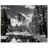 half dome, merced river, winter, yosemite valley by ansel adams