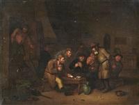 wirtshausinterieur mit kartenspielenden bauern by egbert van heemskerck the younger