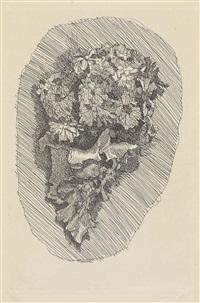 fiori in un cornetto su fondo ovoidale by giorgio morandi