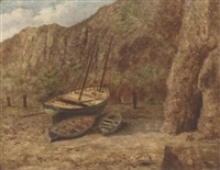moored boats on a beach by cecil gordon lawson