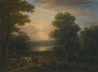a wooded landscape with shepherds and their cattle at sunset; a wooded river landscape with fishermen hauling in their nets (2 works) by john wootton