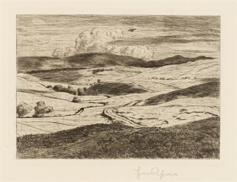 landschaft mit wolkenschatten gasterntal ii seifriedsberg 3 works various sizes by hans thoma