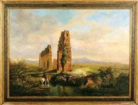 ruins within italian landscape by domenico amici