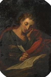 der heilige johannes, schreibend by hans rottenhammer the elder