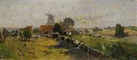 landschaft mit windmühle by karl heffner
