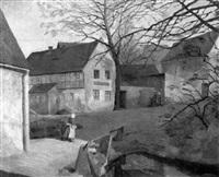 dorfstraße am vorfrühlingsmorgen by hans buch