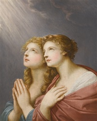study for two female figures praying by friedrich heinrich füger