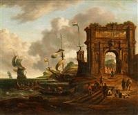 südliche hafenansicht mit triumphbogen by abraham jansz storck