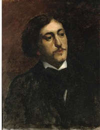 portrait of a gentleman, bust-length, in a black coat with white shirt by bernard joseph artigue