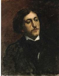 portrait of a gentleman, bust-length, in a black coat with white shirt by bernard joseph artigue