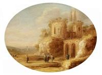 römische ruinenlandschaft mit christus, der die blinden heilt by charles cornelisz de hooch