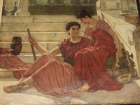 two classical figures seated on a terrace by reginald ernest arnold