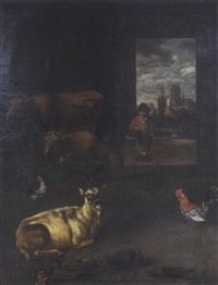 ziegen, hühner und kühe im stall by hubert van ravesteyn