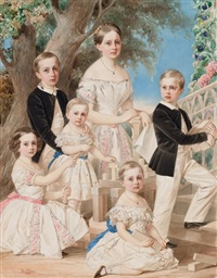 portrait of the children of the duke of leuchtenberg by vladimir ivanovich hau