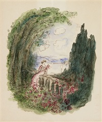 auf brüstung sitzende frau mit rosen by pierre laprade