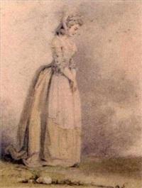 portrait of a standing lady by augustin de saint-aubin