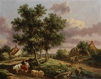 a landscape with a drover on a path with sheep and cattle, cottages and travelers beyond by henry milbourne