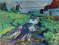 landscape with windmill by sigurd swane
