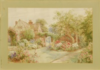 english tudor garden in spring by maud hollyer