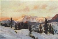 abendsonne über verschneiter gebirgslandschaft by viktor gutmann