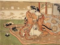 ein liebespaar sitzt auf einem futon. auf der matratze liegen eine pfeife und ein tabakoire, neben dem bett ein tabakobon und eine teetass (chûban) by isoda koryusai