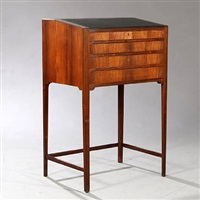writing desk with profiled edges and slightly tapering by frits henningsen