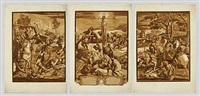 die kreuzigung (after tintoretto) (1 work in 3 parts) (+ 3 others; 4 works) by john baptist jackson