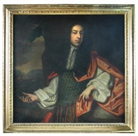 portrait, presumably of sir frances dayrell (d.1675) of shudy camps, holding a pair of compasses, a globe beside him, ship beyond by sir peter lely