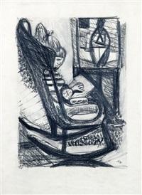 mädchen im schaukelstuhl vor der staffelei by joachim heuer