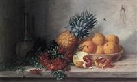 früchtestilleben mit orangen, ananas, flox und chianti-flasche by alfrida baadsgaard